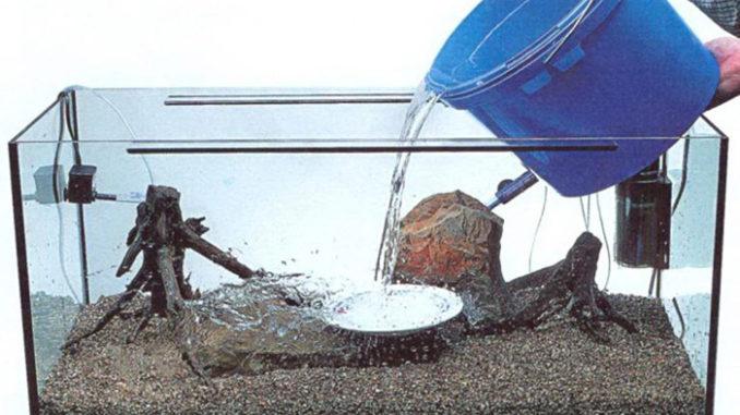 заливка воды в аквариум